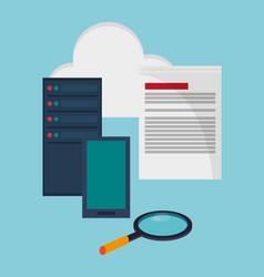 Data center technology equipment storage document vector