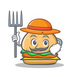 Farmer burger character fast food vector