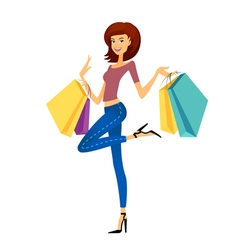 Fashion shopping girl vector image vector image