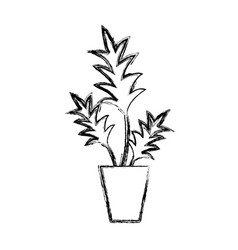 figure nature plant with leaves inside flowerpot vector image vector image