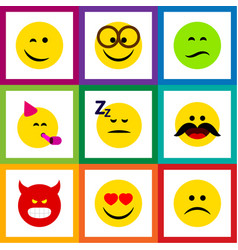 Flat icon expression set of sad party time vector