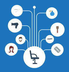 Flat icons female razor elbow chair and other vector