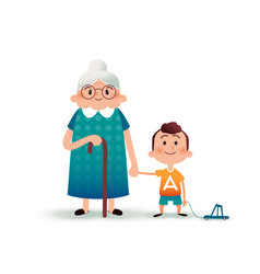 Grandmother and grandson holding hands little boy vector