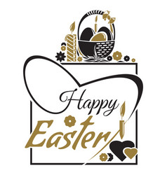 Happy easter easter lettering typographic design vector