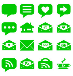 Internet icons set - website green buttons vector