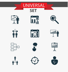 management icons set collection of approved vector image vector image