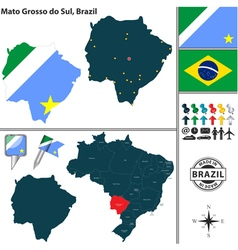 Map of Mato Grosso do Sul vector image