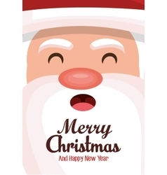 merry christmas card face santa design vector image
