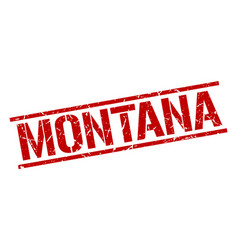 Montana red square stamp vector
