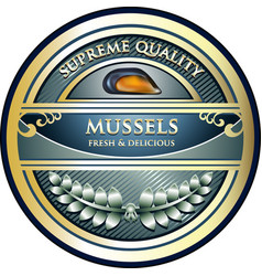 Mussels gold label vector