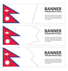 Nepal flag banners collection independence day vector