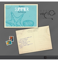 Old postcard design template vector