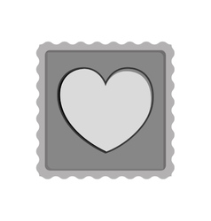 Post stamp with heart shape icon vector