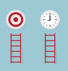 Red ladder to target and time business concept vector