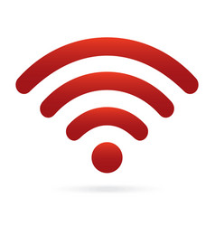 Red wifi icon wireless symbol on isolated vector