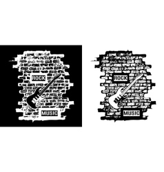 Rock music on a brick background black and white vector