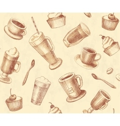 Seamless background coffee and tea vector image vector image