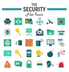 Security flat icon set cyber protection signs vector