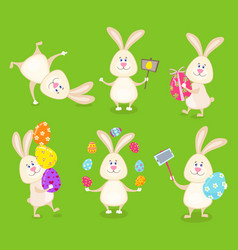 Set of cute easter rabbits with easter eggs and vector