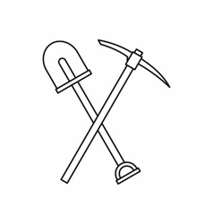 Shovel and pickaxe icon outline style vector