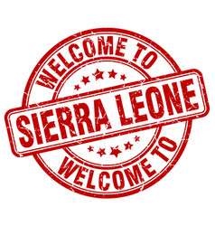 Welcome to sierra leone red round vintage stamp vector