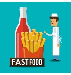 Fries soda and fast food design vector