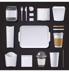 Burger Bar Packaging Realistic Set vector image