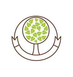 tree organic food emblem image vector image