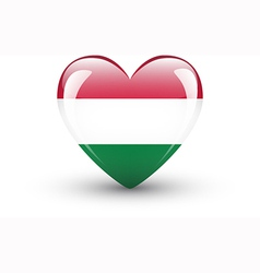 Heart-shaped icon with national flag of hungary vector