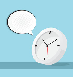 clock icon with speech bubble and halftone vector image