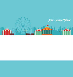 Card amusement park theme collection vector