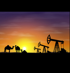 Petroleum rigs and camels at sunset oil vector