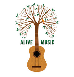 Guitar tree live music quote concept vector