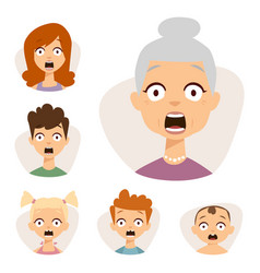 set beautiful emoticons face of people fear vector image
