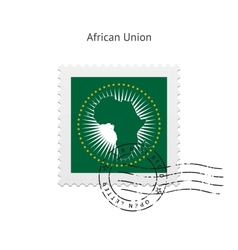 African Union Flag Postage Stamp vector image