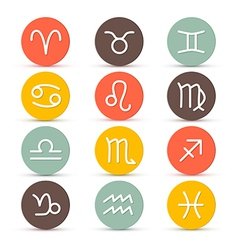 Zodiac horoscope circle symbols in retro colors vector