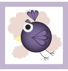 Flying in clouds cartoon bird vector