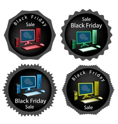 Pc computer on black friday sale background vector