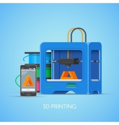 3d printing concept poster in flat style vector