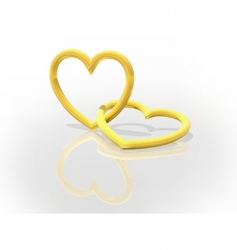 Gold entwined hearts vector