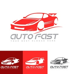 Red sports car logo vector