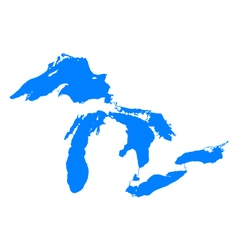 Map of great lakes vector