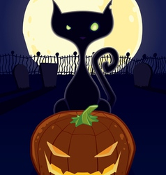 Halloween night black cat vector