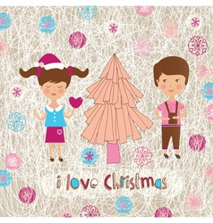 Family christmas love vector