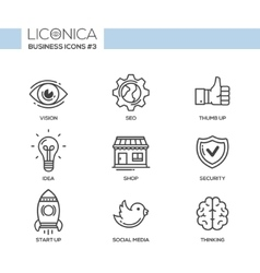 Modern office and business line flat design icons vector