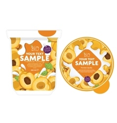 Apricot yogurt packaging design template vector