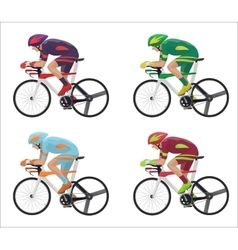 Set of different racing cyclist in action vector