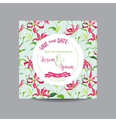 Tropical Flowers and Leaves Wedding Invitation vector image