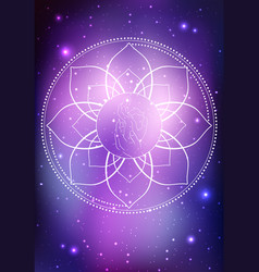 a hand of buddha and frame of lotus vector image vector image