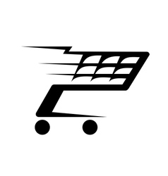 Abstract of a shopping cart moving vector image vector image